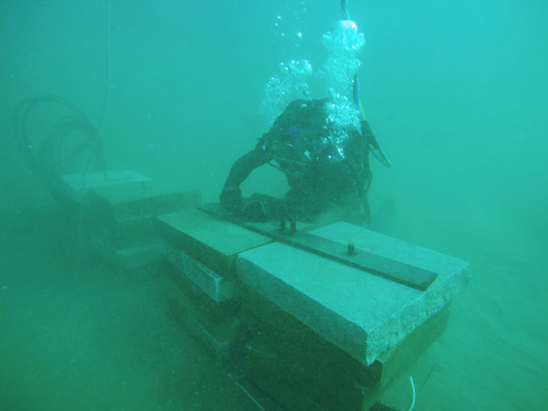 Installation of deadman anchors for seaweed fields