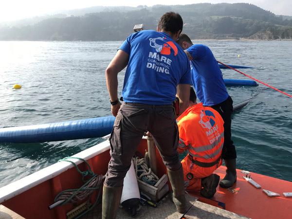 Installation of buoys in seaweed fields