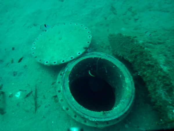 Opening of the lid for inspection of the intake with ROV